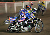 Heat 1 - Nicki Pedersen (green), Mikael Max (red), Henning Bager, Edward Kennett - Arena Essex Hammers vs Eastbourne Eagles - Sky Sports Elite League 'B' - 04/10/2006 - MANDATORY CREDIT: Gavin Ellis/TGSPHOTO