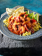 Prawn Bhuna curry & rice, Indian food recipe  pictures, photos & images