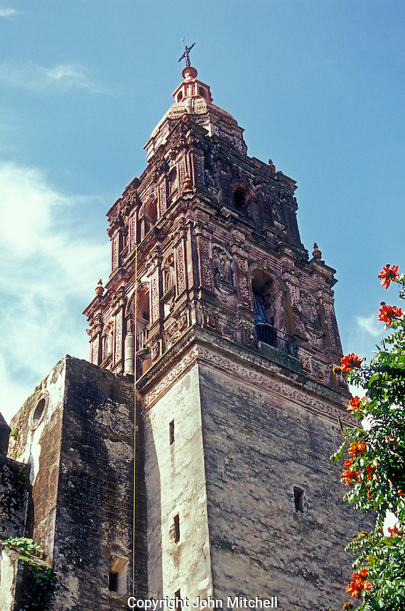 Bell tower of the Spanish colonial cathedral in Cuernavaca, Mexico