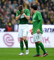 FUSSBALL   1. BUNDESLIGA   SAISON 2011/2012   26. SPIELTAG Borussia Dortmund - SV Werder Bremen               17.03.2012 Sebastian Proedl und Zlatko Junuzovic  (v.l., beide SV Werder Bremen) sind enttaeuscht
