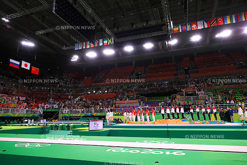 Japan team group (JPN), <br /> AUGUST 8, 2016 - Artistic Gymnastics : <br /> Men's Final  <br /> Medal Ceremony <br /> at Rio Olympic Arena <br /> during the Rio 2016 Olympic Games in Rio de Janeiro, Brazil. <br /> (Photo by Sho Tamura/AFLO SPORT)