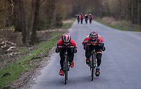 Tim Wellens (BEL/Lotto Soudal) &amp; Thomas De Gendt (BEL/Lotto Soudal) tucking in to speed on down<br /> <br /> Team Lotto-Soudal at the Li&egrave;ge-Bastogne-Li&egrave;ge 2017 recon