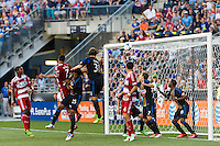 Blas Perez (7) of FC Dallas heads in the game tying goal. The Philadelphia Union and FC Dallas played to a 2-2 tie during a Major League Soccer (MLS) match at PPL Park in Chester, PA, on June 29, 2013.