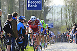 Riders including Alexander Kristoff (NOR) Team Katusha summit the Taaienberg 18% cobbled climb during the 60th edition of the Record Bank E3 Harelbeke 2017, Flanders, Belgium. 24th March 2017.<br /> Picture: Eoin Clarke | Cyclefile<br /> <br /> <br /> All photos usage must carry mandatory copyright credit (&copy; Cyclefile | Eoin Clarke)