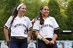 25 April 2016: Notre Dame's Morgan Reed (20) and Micaela Arizmendi (2). The University of North Carolina Tar Heels hosted the University of Notre Dame Fighting Irish at Anderson Stadium in Chapel Hill, North Carolina in a 2016 NCAA Division I softball game. UNC won the game 7-6.