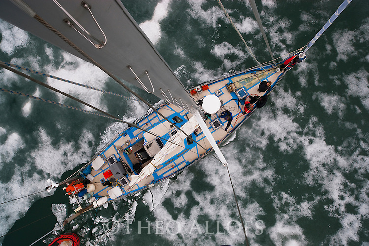 """Norway, Svalbard, view onto boat Arctica surrounded by """"fast ice""""  in fjord from 20 m high mast"""