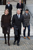 King Philippe & Queen Mathilde of Belgium & family members attend a Mass Commemoration - Belgium