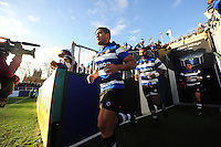 Ben Tapuai and the rest of the Bath Rugby team run out onto the field for the second half. Aviva Premiership match, between Bath Rugby and Saracens on December 3, 2016 at the Recreation Ground in Bath, England. Photo by: Patrick Khachfe / Onside Images