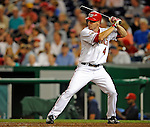 15 August 2008: Washington Nationals' second baseman Pete Orr pinch hits against the Colorado Rockies at Nationals Park in Washington, DC.  The Rockies edged out the Nationals 4-3, handing the last place Nationals their 8th consecutive loss. ..Mandatory Photo Credit: Ed Wolfstein Photo