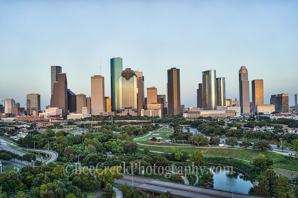 We took this on another day of the city from a different area right before dusk and you can see the Buffalo Bayou as it snakes through the city and the Houston skyline with all it skyscapers located in downtown.  Even though this is near downtown the park goes for miles away from the city toward the memorial area even then you can still see the downtown cityscape as they have so may tall skyscrapers.