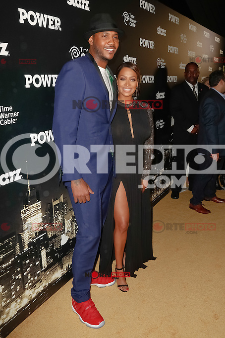 New York, NY -  June 2 : Professional basketball player Carmelo Anthony and  his wife La La Anthony attend the Power Premiere held at the Highline Ballroom on June 2, 2014 in New York City. Photo by Brent N. Clarke / Starlitepics