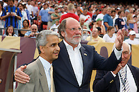 US Soccer Federation president Sunil Gulati and New Jersey Governor Jon S. Corzine prior to the start of the match. The men's national teams of the United States and Argentina played to a 0-0 tie during an international friendly at Giants Stadium in East Rutherford, NJ, on June 8, 2008.
