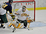 16 February 2008: University of Vermont Catamounts' goaltender Joe Fallon, a Senior from Bemidji, MN, makes a third period save against the Merrimack College Warriors at Gutterson Fieldhouse in Burlington, Vermont. The Catamounts defeated the Warriors 2-1 for their second win of the 2-game weekend series...Mandatory Photo Credit: Ed Wolfstein Photo