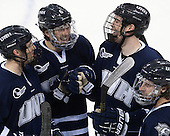 Casey Thrush (UNH - 19), Trevor van Riemsdyk (UNH - 6), Eric Knodel (UNH - 5), Austin Block (UNH - 3) - The Boston College Eagles and University of New Hampshire Wildcats tied 4-4 on Sunday, February 17, 2013, at Kelley Rink in Conte Forum in Chestnut Hill, Massachusetts.
