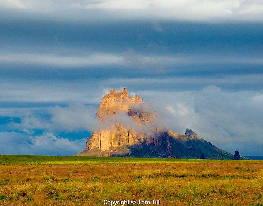 Sunrise fog at Shiprock, New Mexico,  Huge natural butte, Rises to 7,178 feet, 1500 above surrounding valley, Scared to Navajo people