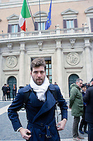 Roma 15 marzo 2013.Montecitorio l'arrivo dei parlamentari alla Camera dei Deputati per l' inizio della XVII legislatura..Adriano Zaccagnini deputato M5S