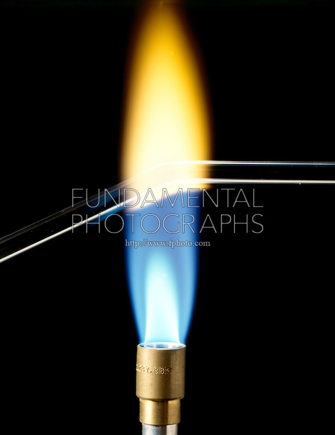 BENDING GLASS TUBE: SODIUM FLAME COLOR<br /> Flame Turns Yellow<br /> Yellow color of flame indicates presence of sodium in glass.