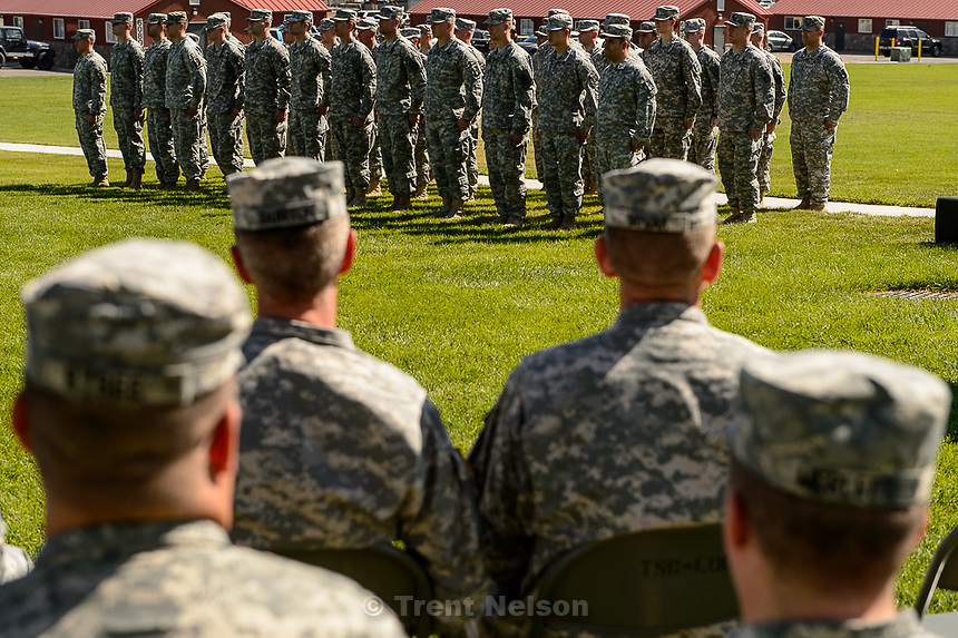 Trent Nelson  |  The Salt Lake Tribune<br /> Fifty-three Utah Guardmembers prepare to be realigned to the 101st Airborne Division (Air Assault) in an &quot;Old Abe&quot; patch ceremony at Camp Williams in Bluffdale, Friday June 19, 2015.