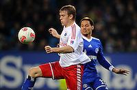 FUSSBALL   1. BUNDESLIGA    SAISON 2012/2013    14. Spieltag   Hamburger SV - FC Schalke 04                               27.11.2012 Artjoms Rudnevs (li, Hamburger SV) gegen Jermaine Jones (re, FC Schalke 04)