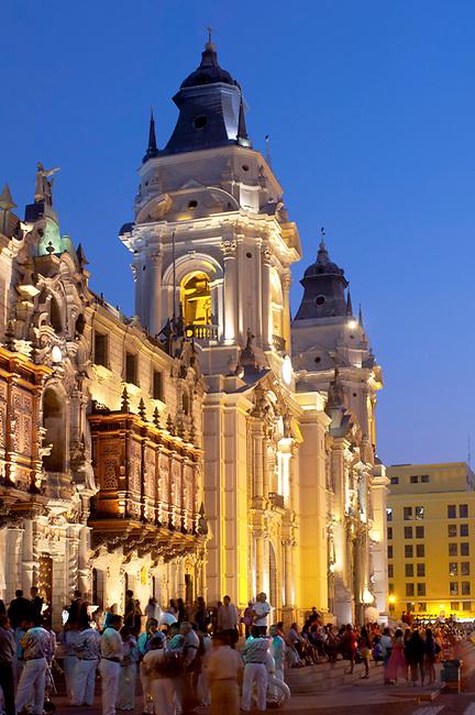 Lima, Peru, Cathedral Of Lima, 16th Century, Plaza Mayor Or Plaza de Armas, UNESCO World Heritage Site