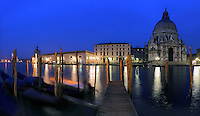 A night view of the Grand Canal with the church of the Salute and Punta della Dogana. Taken about 45 minutes before dawn on a rainy morning at the beginning of December; this is stitched from five vertical frames.