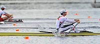 Hamilton, NEW ZEALAND.   USA. LM1X, Daniel UREVICK-ACKELSBERG, moves away from the start in her heat of the Men's lightweight single sculls. 2010 World Rowing Championship on Lake Karapiro Monday 01.11.2010. [Mandatory Credit Peter Spurrier:Intersport Images].