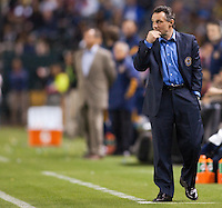 Philadelphia Union head coach Peter Nowak. The LA Galaxy defeated the Philadelphia Union 1-0 at Home Depot Center stadium in Carson, California on  April  2, 2011....