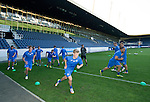 FC Luzern v St Johnstone...16.07.14  Europa League 2nd Round Qualifier<br /> David Wotherspoon and Lee Croft pictured during training at the Swissporarena ahead of tomorrow's game against FC Luzern<br /> Picture by Graeme Hart.<br /> Copyright Perthshire Picture Agency<br /> Tel: 01738 623350  Mobile: 07990 594431