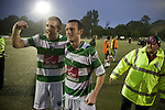 The New Saints goalscorers Chris Sharp and Matty Williams celebrating at Park Hall Stadium, Oswestry after their team's Champions League 2nd qualifying round 2nd leg game with visitors Bohemians. Despite leading 1-0 from the first leg, the Dublin club went out following their 4-0 defeat by the Welsh champions. The match was the first-ever Champions League match in the UK played on an artificial pitch and was staged at the Welsh Premier League's ground which was located over the border in England.