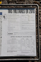 Announcement poster of the Swiss army in Geneva (Switzerland, 16/04/2010)
