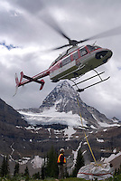 The Highline trail, Alberta and British Columbia, Canada, August 2008. Most guests at the Assiniboine lodge arrive by helicopter. The helicopters are also used to transport equipment for the parks staff. The Banff Highline trail can be hiked in 7 days and runs through Banff National park as well as Assiniboine Provincial park. Photo by Frits Meyst/Adventure4ever.com