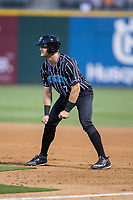 Adam Engel (7) of the Charlotte Knights takes his lead off of first base against the Norfolk Tides at BB&T BallPark on May 2, 2017 in Charlotte, North Carolina.  The Knights defeated the Tides 8-3.  (Brian Westerholt/Four Seam Images)