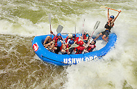 Summer campers participate in a whitewater rafting trip at the US National Whitewater Center (USNWC) in Charlotte, NC.