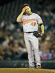 Baltimore Orioles reliever Jason Berken pitches against the Seattle Mariners' at SAFECO Field in Seattle April 19, 2010. The  Mariners beat the Orioles 8-2. Jim Bryant Photo. ©2010. ALL RIGHTS RESERVED.