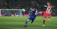 Leicester City's Shinji Okazaki battles with Atletico Madrid's Filipe Luis<br /> <br /> Photographer Stephen White/CameraSport<br /> <br /> UEFA Champions League Quarter Final Second Leg - Leicester City v Atletico Madrid - Tuesday 18th April 2017 - King Power Stadium - Leicester <br />  <br /> World Copyright &copy; 2017 CameraSport. All rights reserved. 43 Linden Ave. Countesthorpe. Leicester. England. LE8 5PG - Tel: +44 (0) 116 277 4147 - admin@camerasport.com - www.camerasport.com