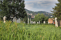 Tombstones in an overgrown cemetery in Sarajevo, Bosnia and Herzegovina. Picture by Manuel Cohen