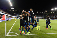 San Jose, CA - Saturday, March 04, 2017: Anibal Godoy celebrates scoring prior to a Major League Soccer (MLS) match between the San Jose Earthquakes and the Montreal Impact at Avaya Stadium.