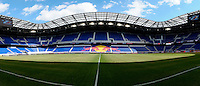 A multi image panorama of Red Bull Arena prior to a Major League Soccer (MLS) match between the New York Red Bulls and the Colorado Rapids at Red Bull Arena in Harrison, NJ, on March 15, 2014.