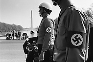 Washington DC. February 12th 1972.<br /> On Abraham Lincoln's birthday, the Commander of the National Socialist White People's Party, Matt Koehl (not pictured), and his troops pay tribute by laying flowers at the Lincoln Memorial. The police are in attendance watching the ceremony.