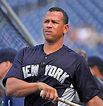 15 June 2012: New York Yankees third baseman Alex Rodriguez awaits his turn in the batting cage prior to a game against the Washington Nationals at Nationals Park in Washington, DC. The Yankees defeated the Nationals 7-2 in the first game of their 3-game series. Mandatory Credit: Ed Wolfstein Photo