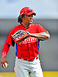 9 March 2012: Philadelphia Phillies infielder Michael Martinez warms up prior to a Spring Training game against the Detroit Tigers at Joker Marchant Stadium in Lakeland, Florida. The Phillies defeated the Tigers 7-5 in Grapefruit League action. Mandatory Credit: Ed Wolfstein Photo