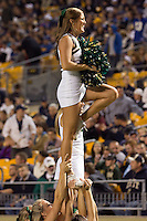 USF cheerleader. The Pitt Panthers defeated the USF Bulls 44-17 on September 29, 2011 at Heinz Field in Pittsburgh Pennsylvania.