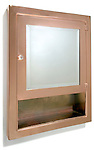 copper medicine cabinet with mirror and shelf