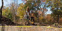 Contractors for the Dept. of Parks and Recreation move tons of fallen trees, branches and tree limbs into an industrial wood chipper, to be made into mulch, in Central Park in New York on Monday, November 12, 2012.  Over 800 trees were destroyed or damaged in the park by the recent Hurricane Sandy and the Nor'Easter which arrived about a week later. The cost of the tree cleanup has reached $12 million citywide with a record number of calls to the 311 line at over 14,000 trees, over the two storms.  (© Richard B. Levine)