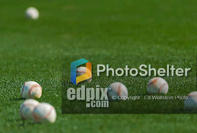 10 March 2015: A grouping of baseballs lie on the grass prior to a Spring Training game between the Washington Nationals and the Miami Marlins at Roger Dean Stadium in Jupiter, Florida. The Marlins edged out the Nationals 2-1 on a walk-off solo home run in the 9th inning of Grapefruit League play. Mandatory Credit: Ed Wolfstein Photo *** RAW (NEF) Image File Available ***