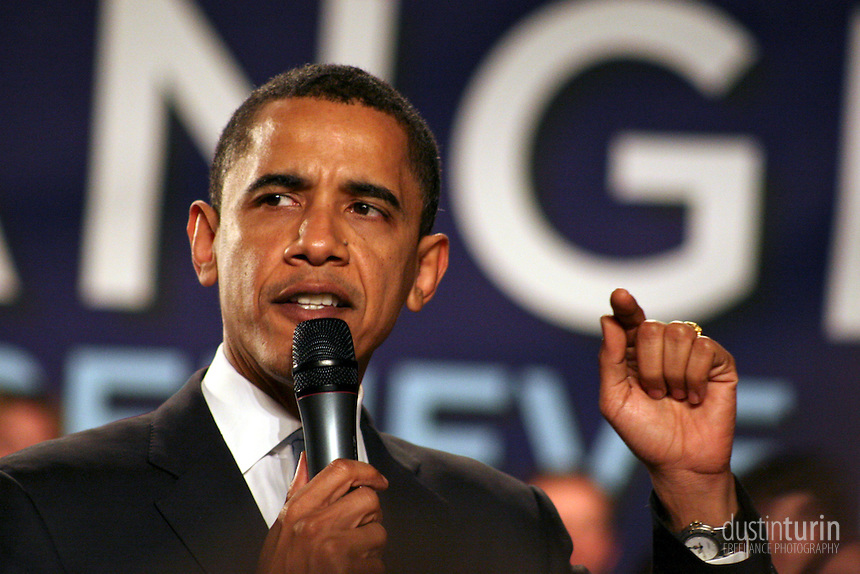 Obama makes a point at a 2008 campaign rally in Boston, MA.