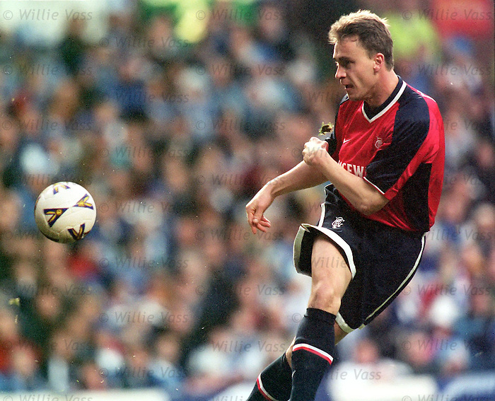 Stéphane Guivarc'h scores one of his four goals during his short Rangers career, season 1998-99. League Cup Final