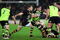 Dylan Hartley of Northampton Saints swings his arm towards Sean O'Brien of Leinster Rugby in an act that will get him sent off. European Rugby Champions Cup match, between Northampton Saints and Leinster Rugby on December 9, 2016 at Franklin's Gardens in Northampton, England. Photo by: Patrick Khachfe / JMP