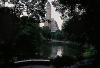 A bridge in the south side of Central Park, a view designed by Frederick Law Olmsted.
