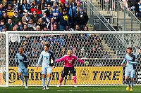Sporting Kansas City goalkeeper Jimmy Nielsen (1) encourages his defenders. Sporting Kansas City defeated the Philadelphia Union 3-1 during a Major League Soccer (MLS) match at PPL Park in Chester, PA, on March 2, 2013.